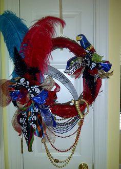 Festive colored Gasparilla Wreath. $80.00, via Etsy.