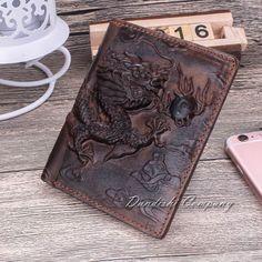 Dragon Cow Genuine Leather Men's Wallet Cowhide Travel Purse Brown Bifold Wallet