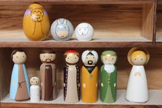 Deluxe 10 pc Nativity Peg Set by WoodenLegNamedSmith on Etsy