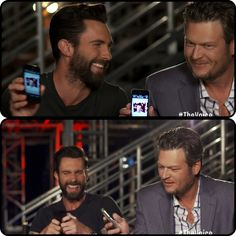 "Blake Shelton showing last text he sent to Adam   Levine. ""It's the worst picture I've ever seen in my life.""  How cute is Adam cracking up!!! http://youtu.be/VrrMA_AQypA"