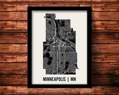 Minneapolis Map Art City Print by MrCityPrinting on Etsy