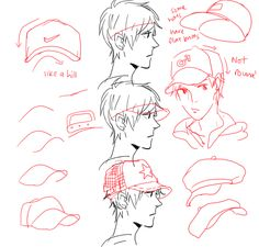 Step-by-step tutorial on how to draw a baseball cap for a male manga/anime character, by bakrua on Tumblr.