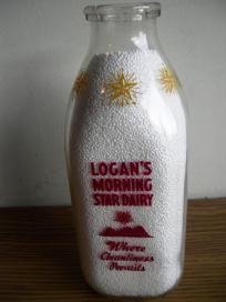 1953 LOGAN'S MORNING STAR DAIRY -MILK BOTTLE WITH ICE CREAM ADVERTSING