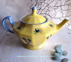 Yellow and Blue Skull and Cross Bones Altered Antique Vintage China Tea pot Mad Hatter Halloween Decor on Etsy, $125.00