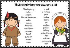Thanksgiving Vocabulary Mats November Center Activity with 8 record sheets This is a great way to introduce and revisit Thanksgiving vocabulary during center work.