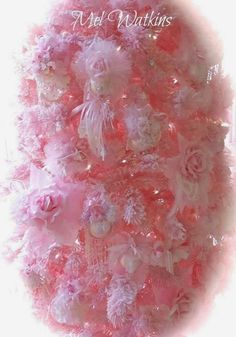 For the love of Romantic living. A love affair of Shabby Chic trash to treasure projects. I adore old chippy, crusty vintage furniture Pink Christmas Tree, Christmas Home, Vintage Christmas, Christmas Holidays, Christmas Decorations, Christmas Things, Pink Trees, Shabby Chic Pink, Everything Pink