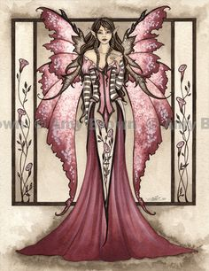 """""""Dusty Rose"""" ORIGINAL ART - Watercolor Paintings Q - Z - Amy Brown Fairy Art - The Official Gallery"""