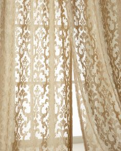 Shelbi Sheers by Isabella Collection by Kathy Fielder at Horchow. Lace Curtains, Window Curtains, Living Room Orange, Curtain Hardware, Pole Barn Homes, Window Panels, Colorful Furniture, Fabric Art, Soft Furnishings