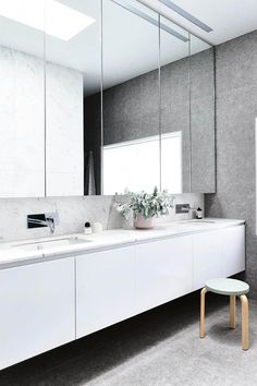 Bathroom Vanities with Tops, If you are thinking about selecting a restroom sink vanity that comes geared up with a top, then make sure that you coordinate the countertop design to the rest of your bath. Contemporary Bathrooms, Modern Bathroom Design, Bathroom Interior Design, Bathroom Designs, Modern Design, Bad Inspiration, Bathroom Inspiration, Dream Bathrooms, Beautiful Bathrooms