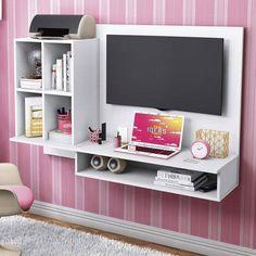 Foto 1 - Escrivaninha Suspensa com Painel para TV até 32 Polegadas Show Albatroz Móveis Branco Textura