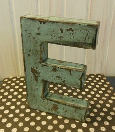 paper mache letter e distressed tiffany by thelittlebluehouse 800