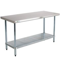 """Regency 18 Gauge 304 Stainless Steel Work Table - 24"""" x 48"""" with Undershelf"""