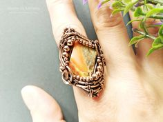 Excited to share the latest addition to my #etsy shop: Jasper Ring, Wire Wrap Ring, Cocktail Ring, Copper Ring, Braided Ring, Wire Wrapped Ring, Ring Size 7, Wire Wrapped Jewelry #jasperring #wirewrapring #cocktailring https://etsy.me/2qVAjou