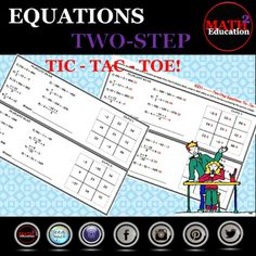 Solving Two Step Equations Tic Tac Toe Teacher Blogs, Math Teacher, Teacher Pay Teachers, Teaching Math, Math Activities, Teacher Resources, Classroom Resources, Math Skills, Math Lessons