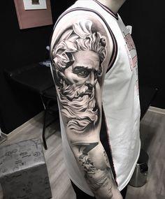 "👹(DaniloSeiji)👺 on Instagram: """"Possêidon"" Repost. @orientestudiotattoo #poseidon #tattoo #poseidontattoo #tatt #pretoecinzatattoo #tatts #pretoebranco #tattoodesgn…"" Poseidon Tattoo, Tattoo Brasil, Sleeve Tattoos, Portrait, Instagram, Ideas, Black And White, Tattoo Sleeves, Headshot Photography"