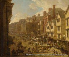 """""""The High Street, Exeter in 1797"""" by John White Abbott (1797) at the Royal Albert Memorial Museum, Exeter"""
