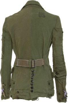 Steampunk / post apocalyptic jackets designed by Greg Lauren, who is a comic book artist and nephew of Ralph Lauren. They are made of old military tents and duffle bags. Military Chic, Military Fashion, Military Jacket, Mens Fashion, Fashion Outfits, Mens Leather Coats, Army Clothes, Jane Clothing, Basic Outfits