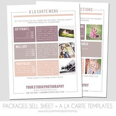 Packages Sell Sheet  A la Carte Pricing by MariaBPhotoShop on Etsy, $12.00