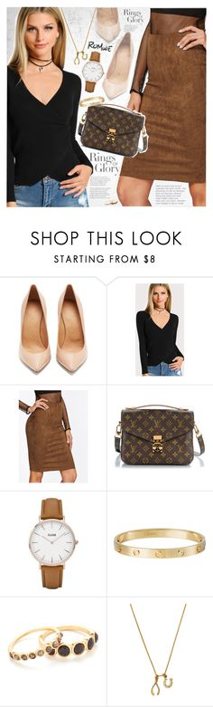 """""""Suede skirt"""" by vanjazivadinovic ❤ liked on Polyvore featuring Tiffany & Co., Maison Margiela, Louis Vuitton, CLUSE, Cartier, Gorjana, Chrysalis, romwe and polyvoreeditorial"""