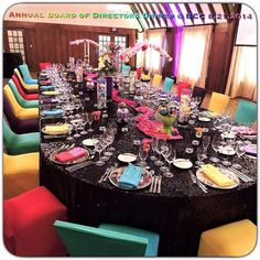80's Themed Annual Board of Directors Dinner. Linens, Lighting & Chair Covers Provided by Palace Events!