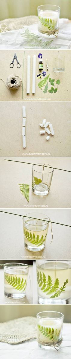 DIY Smell of the Forest Candle DIY Smell of the Forest Candle.  Would love to do the votive holders for the escalade in our bedroom like this
