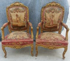 French Aubusson Tapestry Arm Chairs | eBay
