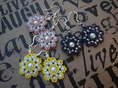 Beautiful gift for #Valentine's Day! Las Flores hand-beaded flower earrings lemon yellow by CoconutSky