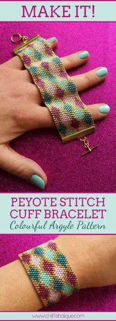 Find out how to make this stunning peyote stitch cuff bracelet with this peyote beading pattern from Craftaholique. Made with Miyuki Delicas.