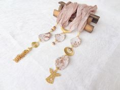 Beige Jewelry Scarf Scarf Necklace Gold Necklace by sevinchjewelry, $65.00