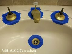 How to use spray paint to give a new look to old faucets: Faced with dated brass bathroom faucets but don't want to get rid of them or replace them