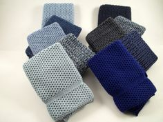 Dishcloths Knit in Cotton in a Blue Bundle by TheNeedleHouse