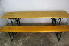 Vintage Industrial German Beer Table Bench Set Garden Furniture