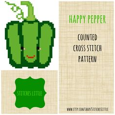 Kawaii Cross Stitch Pattern -  Modern Cross Stitch - Happy Pepper - PDF Pattern - Instant Download by StitchesLittle on Etsy https://www.etsy.com/listing/179773775/kawaii-cross-stitch-pattern-modern-cross
