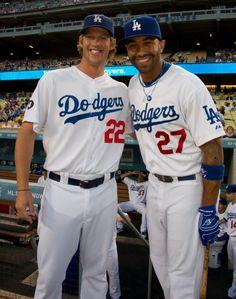Random Baseball — Kershaw and Kemp, foundation of the Dodgers. Baseball Guys, Baseball Uniforms, Dodgers Baseball, Better Baseball, Baseball Players, Baseball Photos, Football, Dodgers Girl, Dodgers Fan