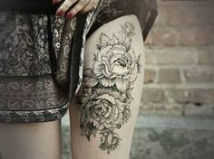 outline peonies by Diana Severjnehko.....i've been wanting a peony tat for awhile...love this black and white version.  foot maybe?