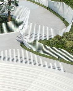 Ten Miles Bay by MBDI – mooool Landscape Structure, Landscape Elements, Landscape Architecture Design, Screen Design, Fence Design, Fancy Fence, Plaza Design, Urban Design Diagram, Wooden Facade