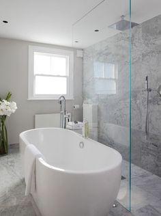 Bad-Ideen Laura Hammett - bathrooms - marble bathroom, open shower, open shower ideas, rain shower h Modern Bathroom Decor, Bathroom Layout, Contemporary Bathrooms, Bathroom Interior Design, Bathroom Designs, Bathroom Ideas, Bathroom With Shower And Bath, Bathroom Showers, Modern Faucets