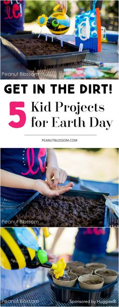 5 kid projects for Earth Day. Get those kids outside with their hands messy this spring! Love these ideas for having them reconnect with nature. Easy tip for quick clean up too.