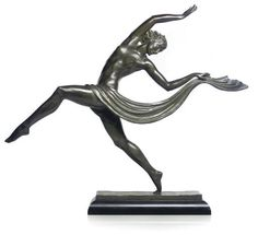 PIERRE LE FAGUAYS - A LARGE GREEN-PATINATED BRONZE OF A DANCER, C1930.