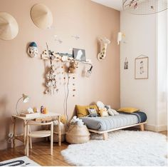 A charming children& room with peach-brown walls and natural wood furniture.- A charming children& room with peach-brown walls and natural wood furniture… A charming children& room with peach-brown walls and… - Baby Bedroom, Kids Bedroom, Bedroom Decor, Scandinavian Kids Rooms, Scandinavian Interior, Natural Wood Furniture, Rustic Furniture, Antique Furniture, Cool Kids Rooms