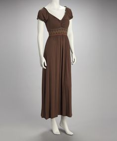 Take a look at this Khaki Puff Sleeve Maxi Dress by Breezy Beauty: Dresses & Tops on @zulily today!
