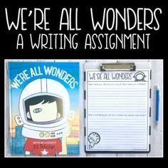 FREE Writing Assignment to go with the book We're All Wonders by R.J. Palacio. Love this picture book companion to the novel Wonder. Download this printable activity to get your students thinking and writing about the themes of these books.