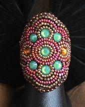 Pink & Green Crystal Wrap Ring