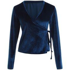 Long Sleeve Velvet Wrap Top (165 SEK) ❤ liked on Polyvore featuring tops, blue top, velvet top, long sleeve wrap top, blue long sleeve top and wrap top