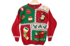 Vintage 90s Packers Stocking Tacky Ugly Christmas Sweater Women's Size Medium (M) $25