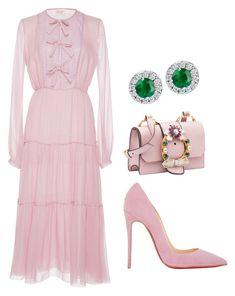 """Pink"" by ale-pink5 ❤ liked on Polyvore featuring Giambattista Valli, Christian Louboutin and Miu Miu"