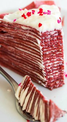 Red Velvet Crepe Cake ~Sweet & Savory Made with layers of thin red velvet crepes and filled with tangy cream cheese filling, this crepe cake tastes as delicious as it looks! Perfect dessert for Valentine's Day. Food Cakes, Cupcake Cakes, Cupcakes, Receita Red Velvet, Just Desserts, Dessert Recipes, Pancake Recipes, Waffle Recipes, Breakfast Recipes