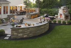 Outdoor space including a fireplace lower patio seating area raised patio seating area lighting and landscaping work. Backyard Seating, Backyard Patio Designs, Backyard Retreat, Backyard Landscaping, Landscaping Ideas, Back Yard Patio Ideas, Backyard Ideas, Deck Seating, Garden Ideas