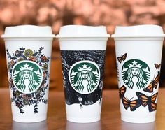New Reusable Cups, Designed by Starbucks Baristas, Benefit Partners in Need… Starbucks Cup Drawing, Starbucks Cup Art, Secret Starbucks Drinks, Custom Starbucks Cup, Starbucks Coffee, Coffee Cup Art, Glass Coffee Cups, Hot Coffee, Personalized Starbucks Cup
