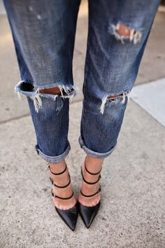 slouchy distress jeans and strappy pumps #style #fashion